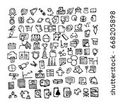 doodle education icons. hand...   Shutterstock . vector #668205898