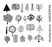 doodle trees. hand drawn plants.... | Shutterstock . vector #668205946