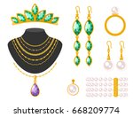 traditional golden jewellery... | Shutterstock .eps vector #668209774