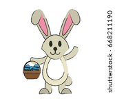 bunny or rabbit with egg and... | Shutterstock .eps vector #668211190