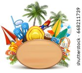 vector beach wooden board | Shutterstock .eps vector #668211739