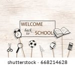 welcome back to school concept ... | Shutterstock .eps vector #668214628