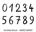 handwritten numbers on white... | Shutterstock .eps vector #668216860