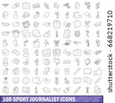 100 sport journalist icons set... | Shutterstock .eps vector #668219710