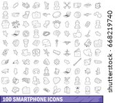100 smartphone icons set in... | Shutterstock .eps vector #668219740