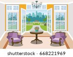 spacious graphic living room... | Shutterstock .eps vector #668221969