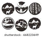 set of wilderness hand drawn...   Shutterstock .eps vector #668223649