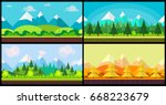 set of 4 cartoon nature...   Shutterstock .eps vector #668223679