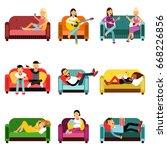 people doing different... | Shutterstock .eps vector #668226856