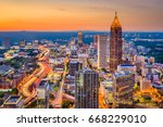atlanta  georgia  usa downtown... | Shutterstock . vector #668229010