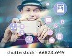 man taking photo and uploading...   Shutterstock . vector #668235949