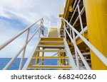 staircase on oil and gas plant. ... | Shutterstock . vector #668240260