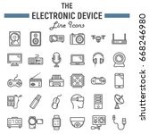 electronic device line icon set ... | Shutterstock .eps vector #668246980