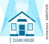 clean shining house. flat... | Shutterstock .eps vector #668247658