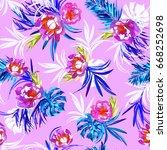 floral pattern watercolour... | Shutterstock . vector #668252698