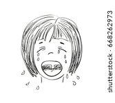 sketch on japanese cartoon... | Shutterstock .eps vector #668262973