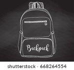 sketch of a rucksack. backpack... | Shutterstock .eps vector #668264554