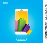 vector online mobile shopping... | Shutterstock .eps vector #668266378