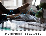 data analysis graph on virtual... | Shutterstock . vector #668267650