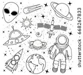 hand drawn vector concept space ... | Shutterstock .eps vector #668267833