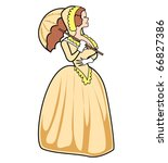 Beautiful southern belle or victorian woman holding an umbrella or parasol and dressed in period clothing.