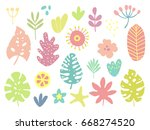 tropical plants  leafs  flowers ... | Shutterstock .eps vector #668274520