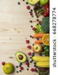 vegetables and fruits on wood... | Shutterstock . vector #668278774