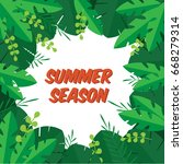 summer sale background  leaves. ... | Shutterstock .eps vector #668279314