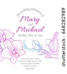 vector wedding invitation with... | Shutterstock .eps vector #668282989