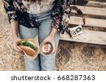 juicy burger and lemonade in... | Shutterstock . vector #668287363