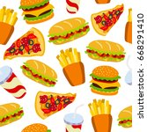 fast food pattern. can be used... | Shutterstock .eps vector #668291410
