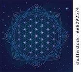 flower of life  sacred geometry ... | Shutterstock .eps vector #668292574