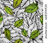 seamless leaves background.... | Shutterstock .eps vector #668294920