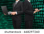 young business men working with ...   Shutterstock . vector #668297260