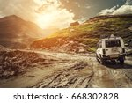 off road vehicle goes on the... | Shutterstock . vector #668302828