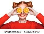 young beautiful funny fashion... | Shutterstock . vector #668305540