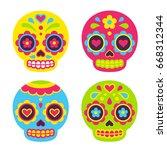 mexican dia de los muertos  day ... | Shutterstock .eps vector #668312344