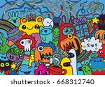 hipster hand drawn crazy doodle ... | Shutterstock .eps vector #668312740