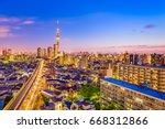 tokyo  japan sumida skyline. | Shutterstock . vector #668312866