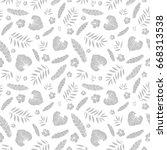 vector silver grey tropical... | Shutterstock .eps vector #668313538