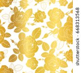 vector gold and white roses and ... | Shutterstock .eps vector #668313568