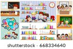 different scenes at school... | Shutterstock .eps vector #668334640