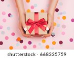 Woman Hands Holding Present Box ...