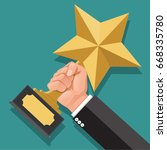 businessman hand holding star... | Shutterstock .eps vector #668335780