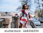 fashionable portrait of lady... | Shutterstock . vector #668336554