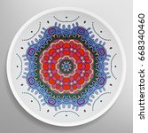 decorative plate with round... | Shutterstock .eps vector #668340460