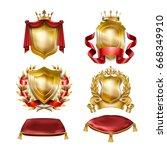 set of icons of of heraldic... | Shutterstock . vector #668349910