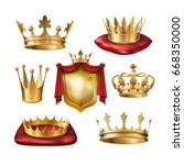 set of icons of royal golden... | Shutterstock . vector #668350000