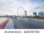 empty road with modern... | Shutterstock . vector #668350783