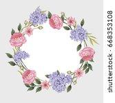 smmer vintage floral greeting... | Shutterstock .eps vector #668353108